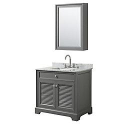 Wyndham Collection Tamara 36 inch Single Vanity in Dark Gray, Carrara Marble Top, Square Sink, Medicine Cabinet