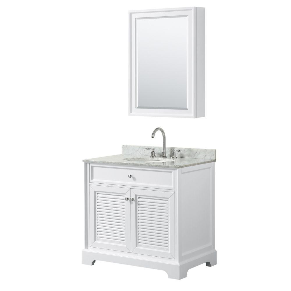 Wyndham Collection Tamara 36 inch Single Vanity in White, Carrara Marble Top, Oval Sink, Medicine Cabinet