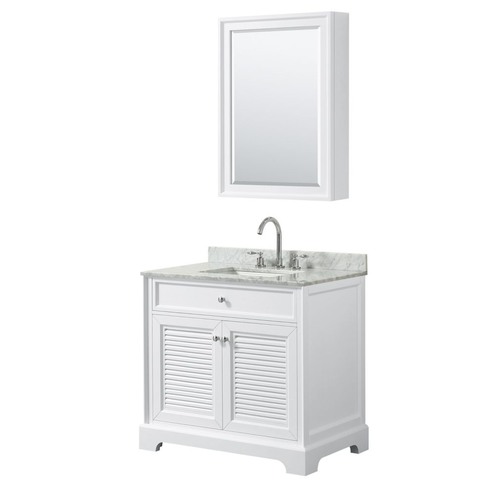 Wyndham Collection Tamara 36 inch Single Vanity in White, Carrara Marble Top, Square Sink, Medicine Cabinet