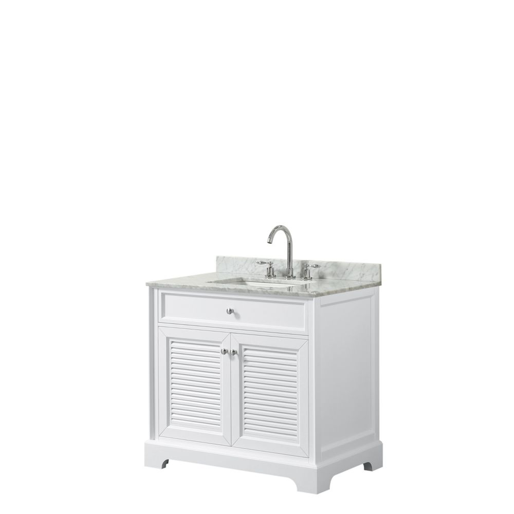 Wyndham Collection Tamara 36 inch Single Vanity in White, Carrara Marble Top, Square Sink, No Mirror