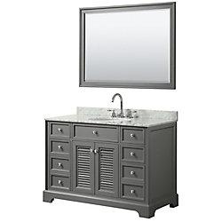 Wyndham Collection Tamara 48 inch Single Vanity in Dark Gray, Carrara Marble Top, Oval Sink, 46 inch Mirror