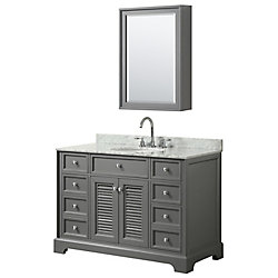 Wyndham Collection Tamara 48 inch Single Vanity in Dark Gray, Carrara Marble Top, Oval Sink, Medicine Cabinet