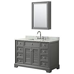 Wyndham Collection Tamara 48 inch Single Vanity in Dark Gray, Carrara Marble Top, Square Sink, Medicine Cabinet