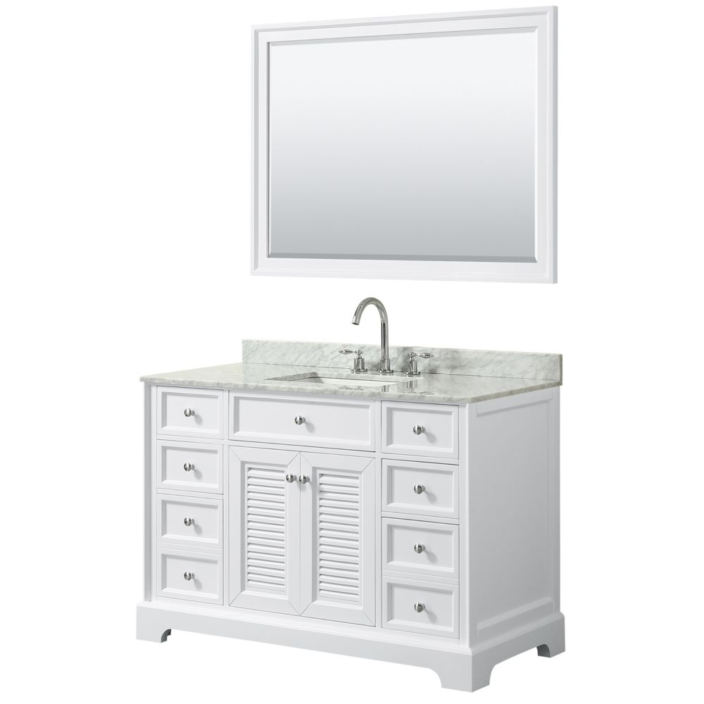 Wyndham Collection Tamara 48 inch Single Vanity in White, Carrara Marble Top, Square Sink, 46 inch Mirror