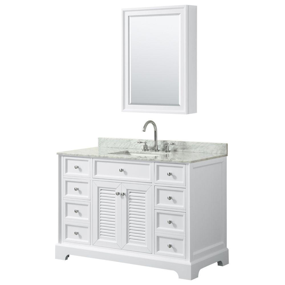 Wyndham Collection Tamara 48 inch Single Vanity in White, Carrara Marble Top, Square Sink, Medicine Cabinet