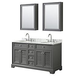Wyndham Collection Tamara 60 inch Double Vanity in Dark Gray, Carrara Marble Top, Oval Sinks, Medicine Cabinets