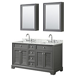 Wyndham Collection Tamara 60 inch Double Vanity in Dark Gray, Carrara Marble Top, Square Sinks, Medicine Cabinets