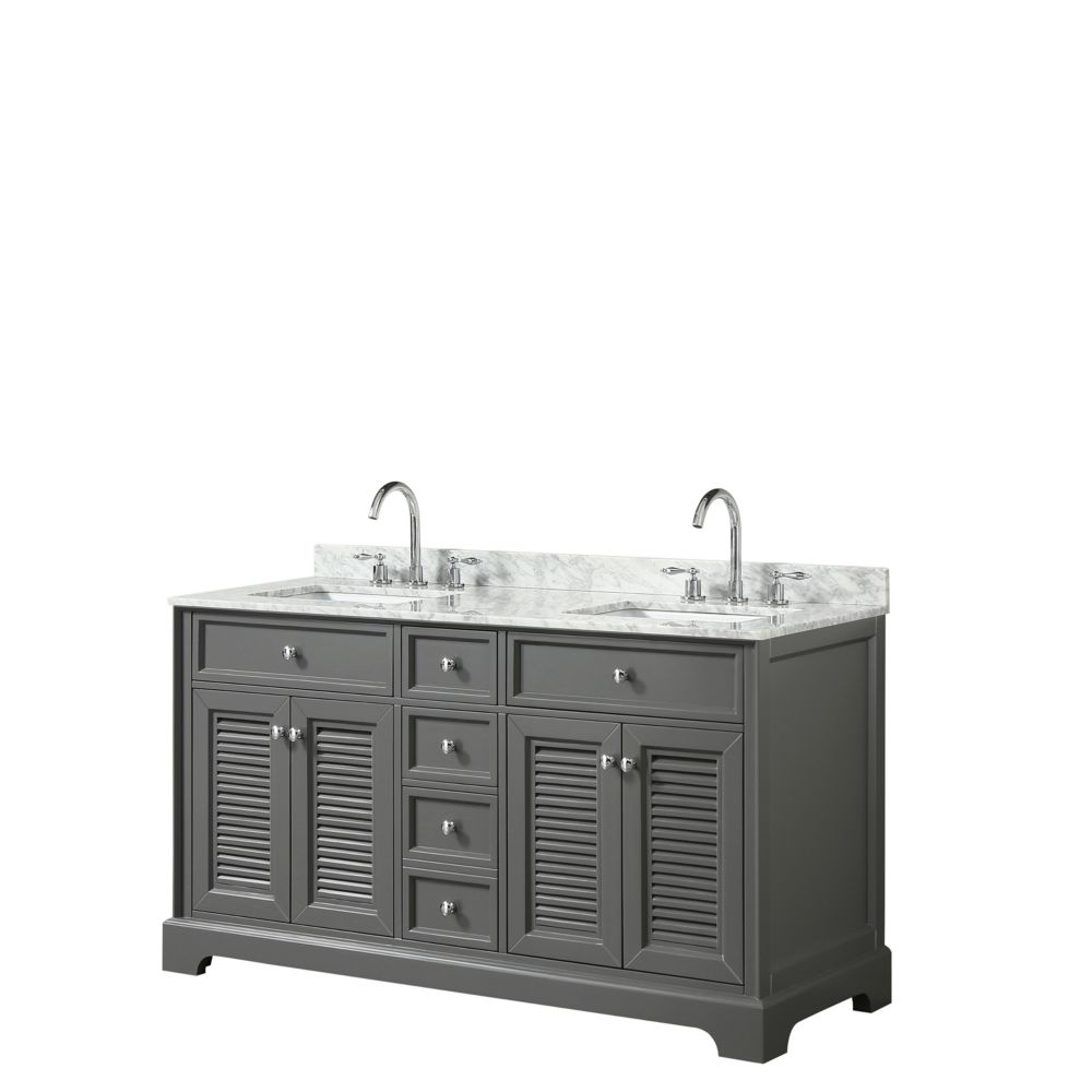 Wyndham Collection Tamara 60 inch Double Vanity in Dark Gray, Carrara Marble Top, Square Sinks, No Mirror