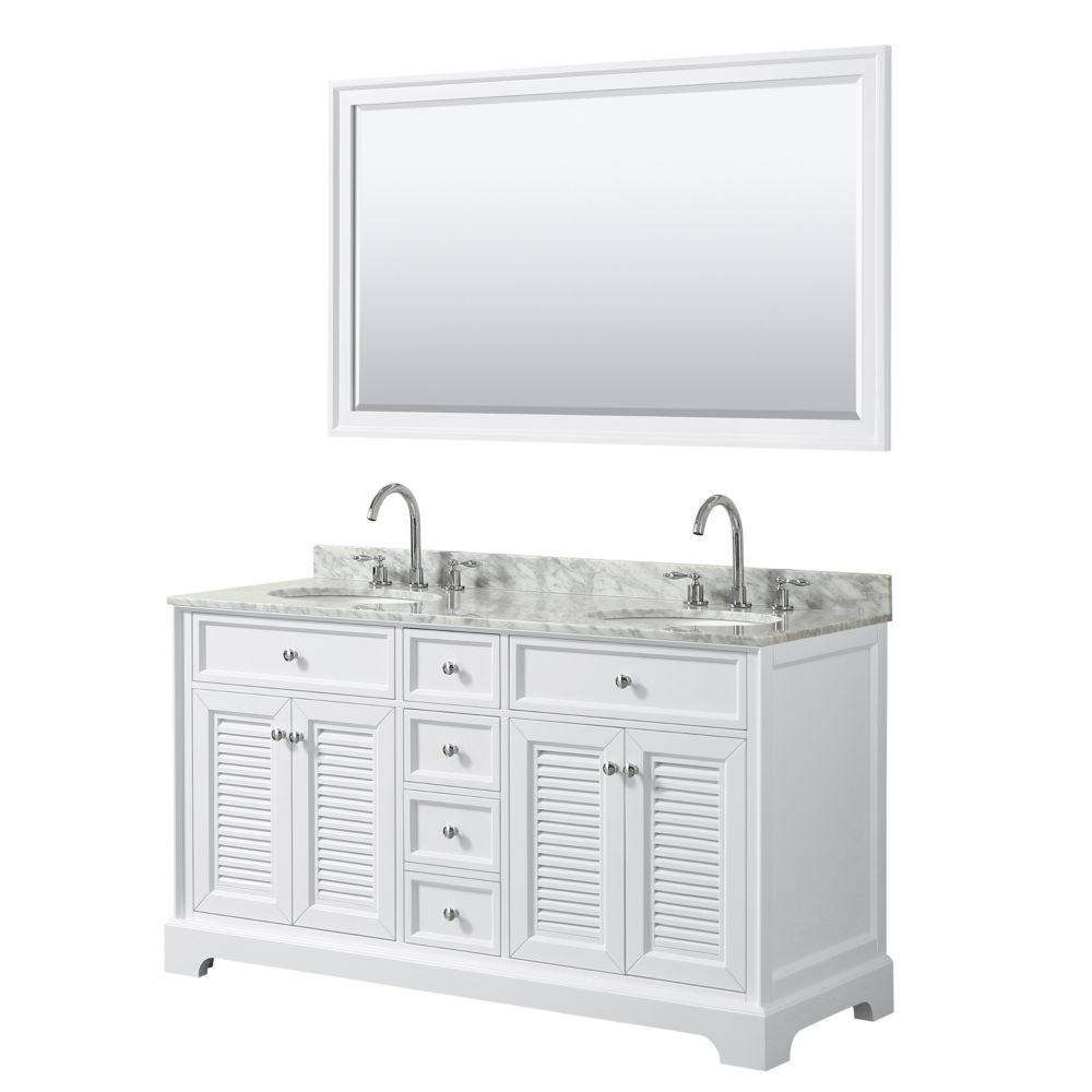 Wyndham Collection Tamara 60 inch Double Vanity in White, Carrara Marble Top, Oval Sinks, 58 inch Mirror