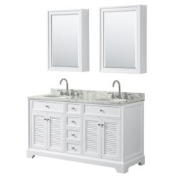 Wyndham Collection Tamara 60 inch Double Vanity in White, Carrara Marble Top, Oval Sinks, Medicine Cabinets