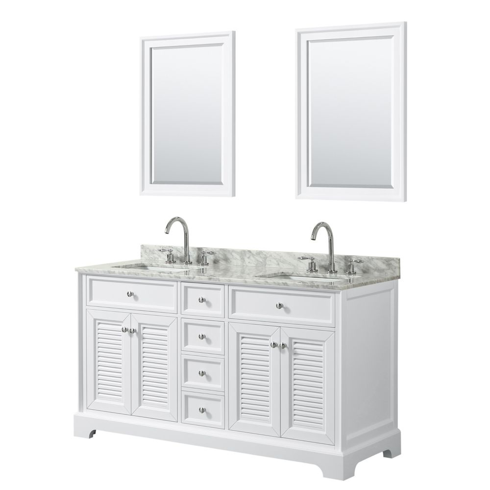 Wyndham Collection Tamara 60 inch Double Vanity in White, Carrara Marble Top, Square Sinks, 24 inch Mirrors