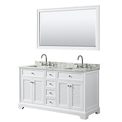 Wyndham Collection Tamara 60 inch Double Vanity in White, Carrara Marble Top, Square Sinks, 58 inch Mirror