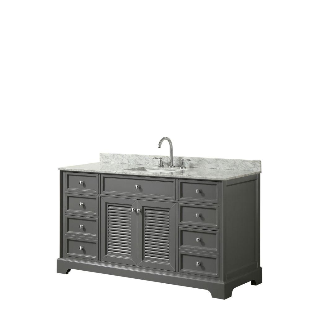 Wyndham Collection Tamara 60 inch Single Vanity in Dark Gray, Carrara Marble Top, Square Sink, No Mirror