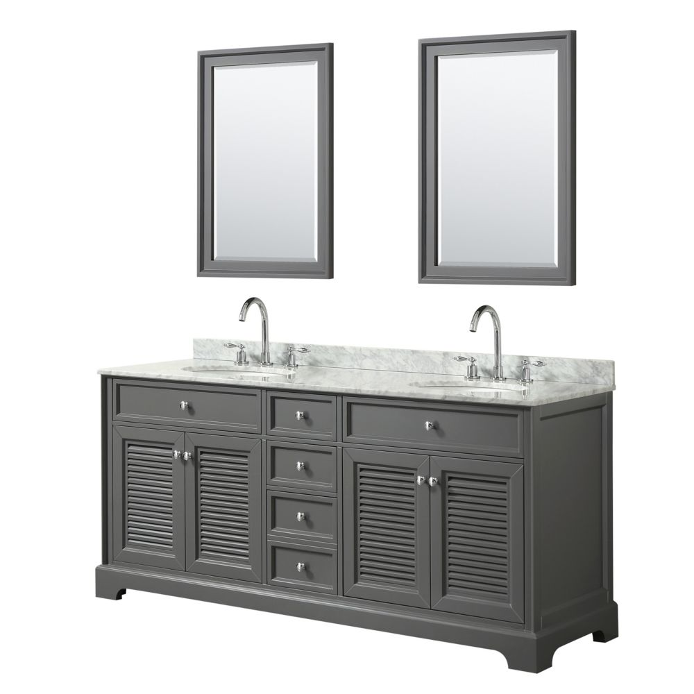 Wyndham Collection Tamara 72 inch Double Vanity in Dark Gray, Carrara Marble Top, Oval Sinks, 24 inch Mirrors