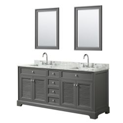 Wyndham Collection Tamara 72 inch Double Vanity in Dark Gray, Carrara Marble Top, Square Sinks, 24 inch Mirrors
