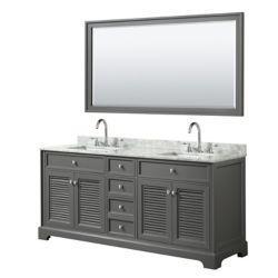 Wyndham Collection Tamara 72 inch Double Vanity in Dark Gray, Carrara Marble Top, Square Sinks, 70 inch Mirror