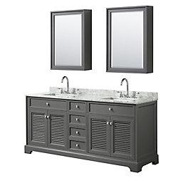 Wyndham Collection Tamara 72 inch Double Vanity in Dark Gray, Carrara Marble Top, Square Sinks, Medicine Cabinets