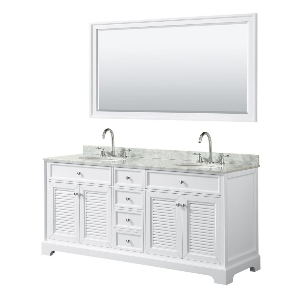 Wyndham Collection Tamara 72 inch Double Vanity in White, Carrara Marble Top, Oval Sinks, 70 inch Mirror
