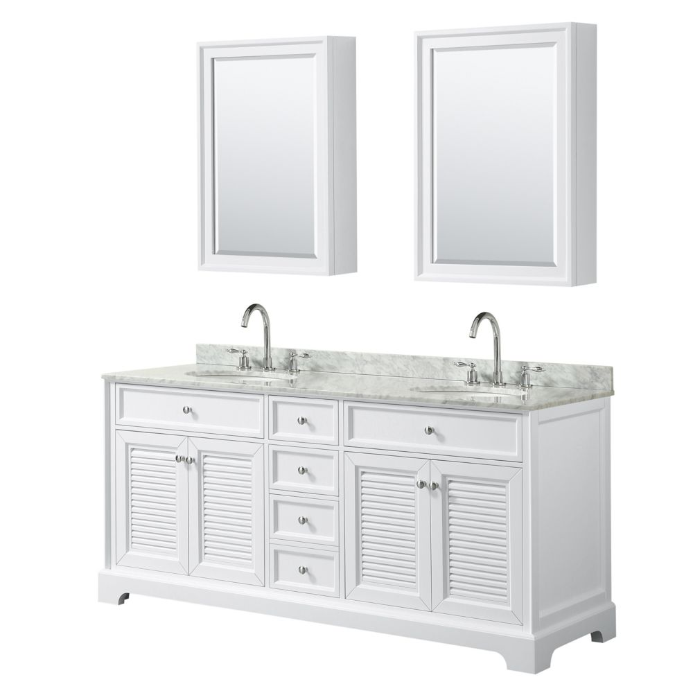 Wyndham Collection Tamara 72 inch Double Vanity in White, Carrara Marble Top, Oval Sinks, Medicine Cabinets