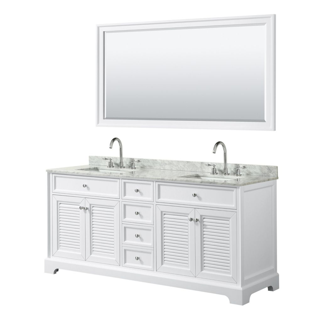 Wyndham Collection Tamara 72 inch Double Vanity in White, Carrara Marble Top, Square Sinks, 70 inch Mirror