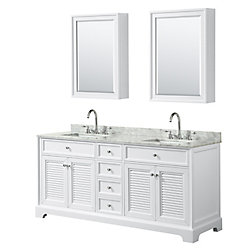 Wyndham Collection Tamara 72 inch Double Vanity in White, Carrara Marble Top, Square Sinks, Medicine Cabinets
