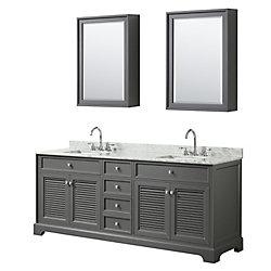 Wyndham Collection Tamara 80 inch Double Vanity in Dark Gray, Carrara Marble Top, Square Sinks, Medicine Cabinets