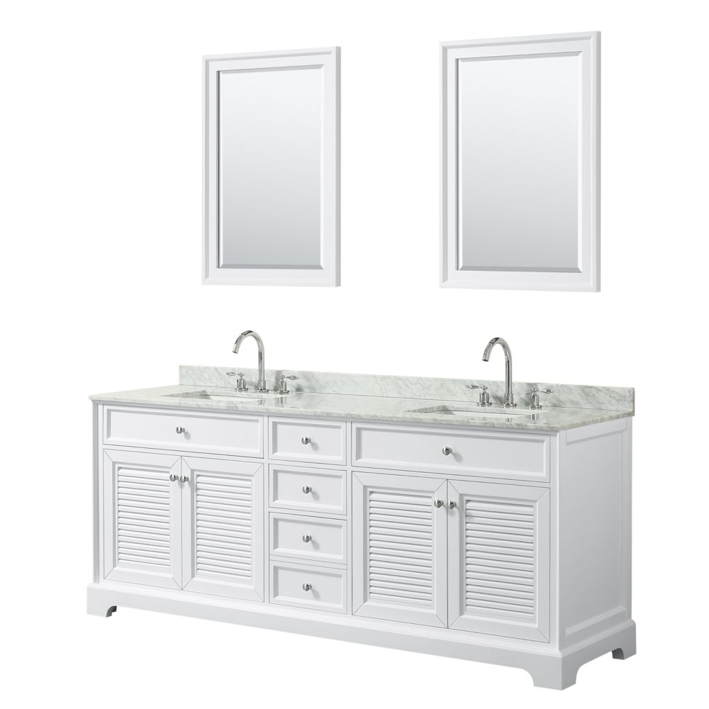 Wyndham Collection Tamara 80 inch Double Vanity in White, Carrara Marble Top, Square Sinks, 24 inch Mirrors