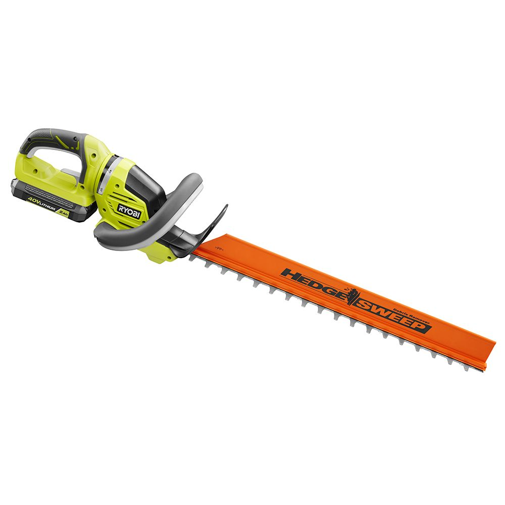 RYOBI 24-Inch 40V Lithium-Ion Cordless Hedge Trimmer with 2 Ah Battery and Charger