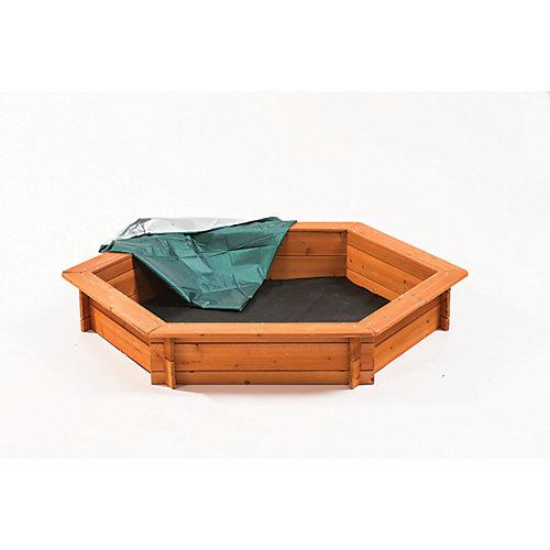 1,5mLong. x 1,3mLarg. x 23cmHaut. (59poLong. x 51poLarg. x 9poHaut.) Ensemble de bac à sable hexagonal avec couvercle