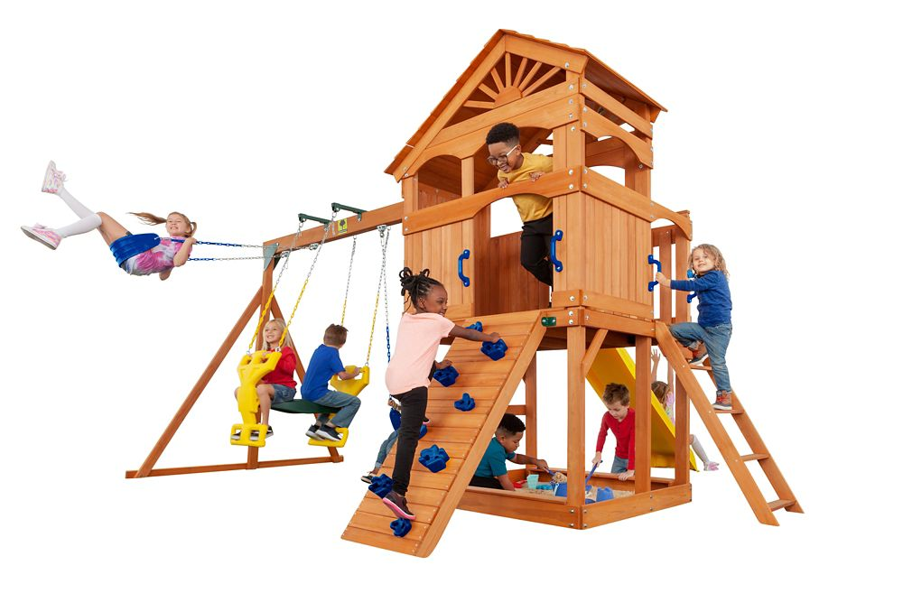 Creative Cedar Designs Timber Valley Wooden Playset- Blue Accessories