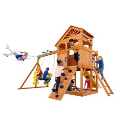 Creative Cedar Designs Timber Valley Wooden Playset with Blue Accessories