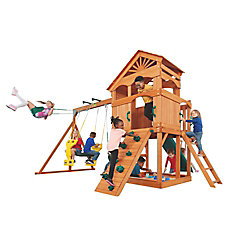 Creative Cedar Designs Timber Valley Wooden Playset with Green Accessories