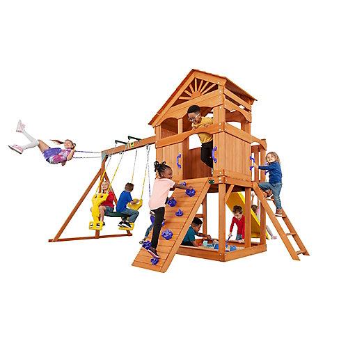 Structure de jeu Timber Valley-Rouge avec accessoires violets, bois