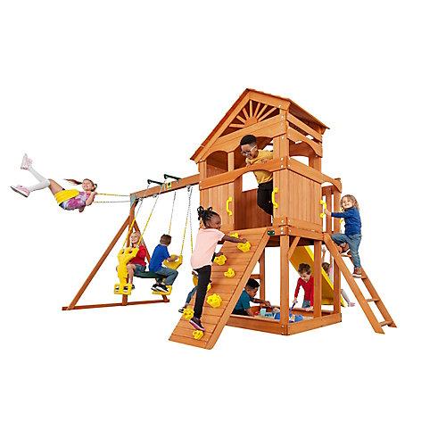 Structure de jeu Timber Valley-Rouge avec accessoires jaunes, bois