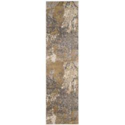 Safavieh Tapis de passage d'intérieur, 2 pi 2 po x 8 pi, Monaco Xerxes, ivoire / gris