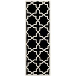 Safavieh Chatham Carlton Black / Ivory 2 ft. 3-inch x 11 ft. Indoor Runner