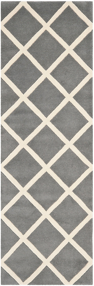 Chatham Peter Dark Grey / Ivory 2 ft. 3-inch x 5 ft. Indoor Runner