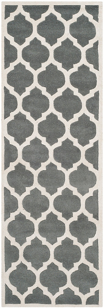 Chatham Candace Dark Grey / Ivory 2 ft. 3-inch x 7 ft. Indoor Runner