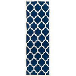 Safavieh Chatham Candace Dark Blue / Ivory 2 ft. 3-inch x 9 ft. Indoor Runner