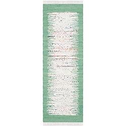 Safavieh Montauk Delroy Ivory / Sea Green 2 ft. 3-inch x 9 ft. Indoor Runner