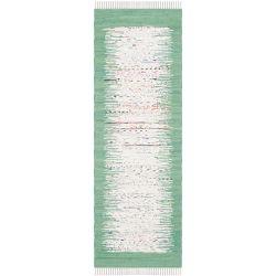 Safavieh Tapis de passage d'intérieur, 2 pi 3 po x 9 pi, Montauk Delroy, ivoire / vert de mer