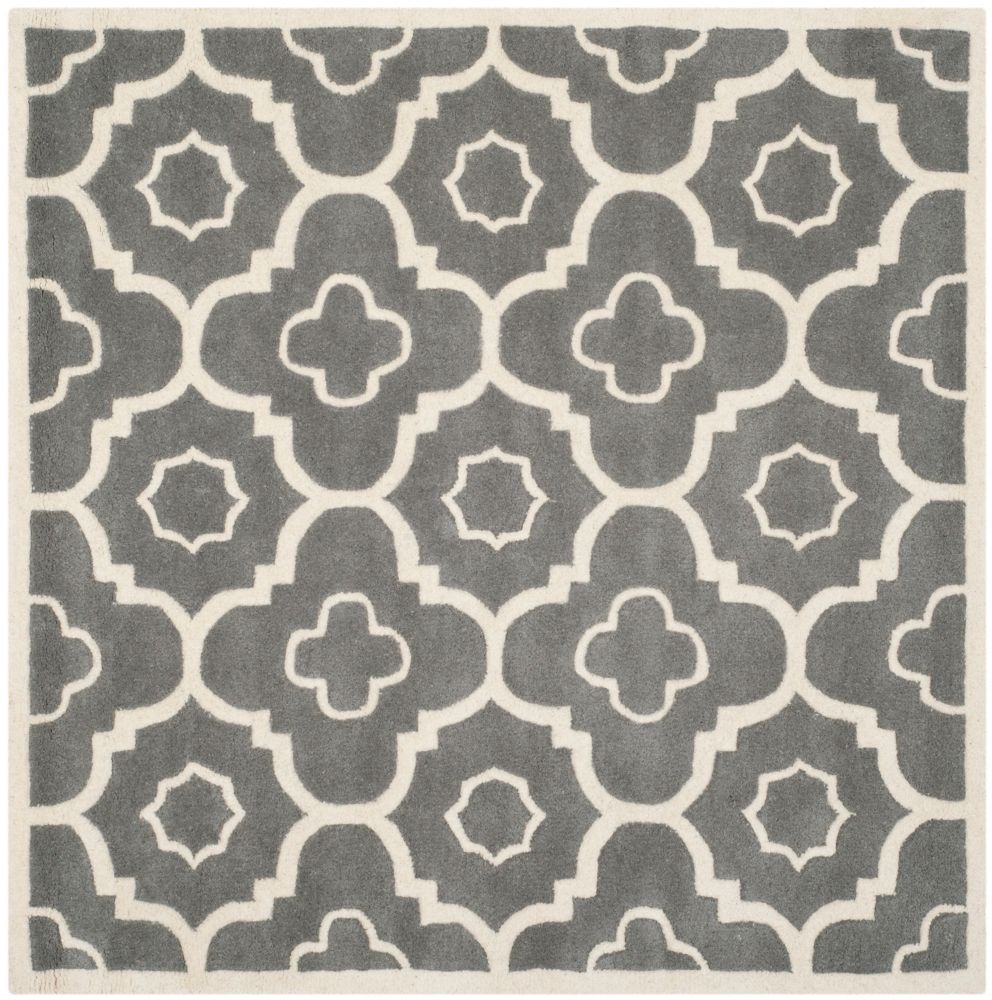 Safavieh Chatham Dedrick Dark Grey / Ivory 3 ft. x 3 ft. Indoor Square Area Rug