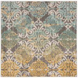 Safavieh Tapis d'intérieur carré, 5 pi 1 po x 5 pi 1 po, Evoke Jack, gris / ivoire