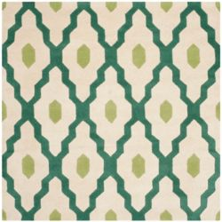 Safavieh Chatham Calvin Ivory / Teal 5 ft. x 5 ft. Indoor Square Area Rug