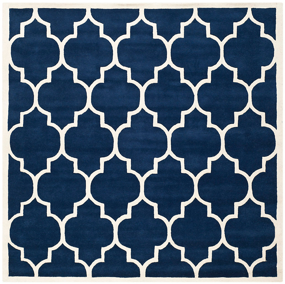 Chatham Caprice Dark Blue / Ivory 5 ft. x 5 ft. Indoor Square Area Rug