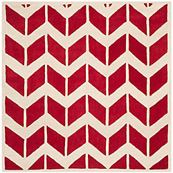 Safavieh Chatham Cecil Red / Ivory 5 ft. x 5 ft. Indoor Square Area Rug