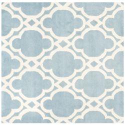Safavieh Tapis d'intérieur carré, 5 pi x 5 pi, Chatham Justine, bleu / ivoire