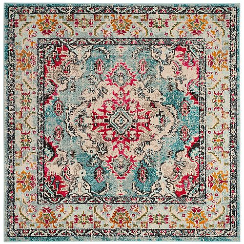 Safavieh Monaco Moses Light Blue / Fuchsia 5 ft. x 5 ft. Indoor Square Area Rug