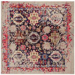 Safavieh Tapis d'intérieur carré, 5 pi x 5 pi, Monaco Rudolf, gris / multi