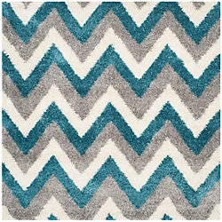 Safavieh Kids Shag Gon Ivory / Blue 6 ft. 7-inch x 6 ft. 7-inch Indoor Square Area Rug